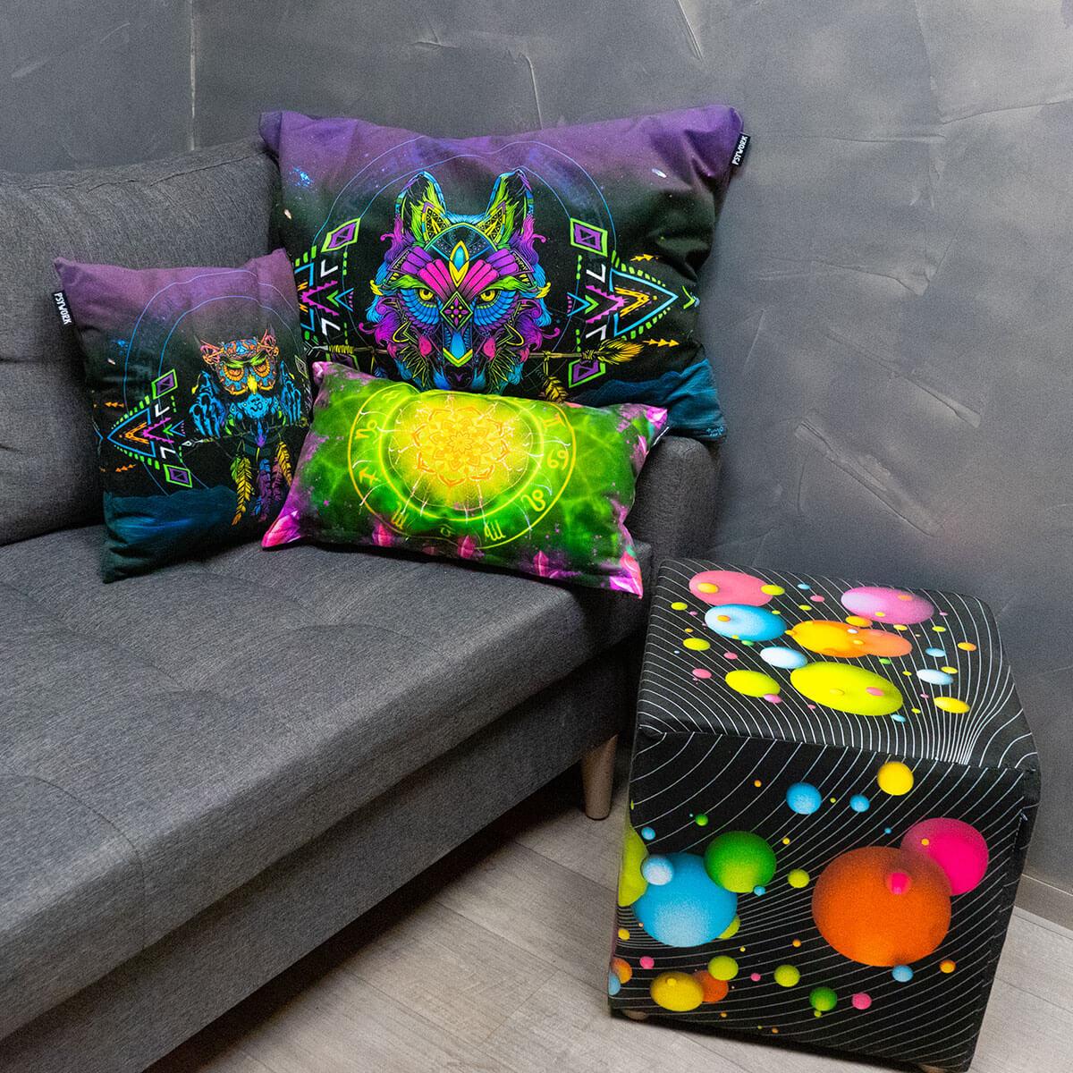 Psywork Neondruck Kissen und Hocker