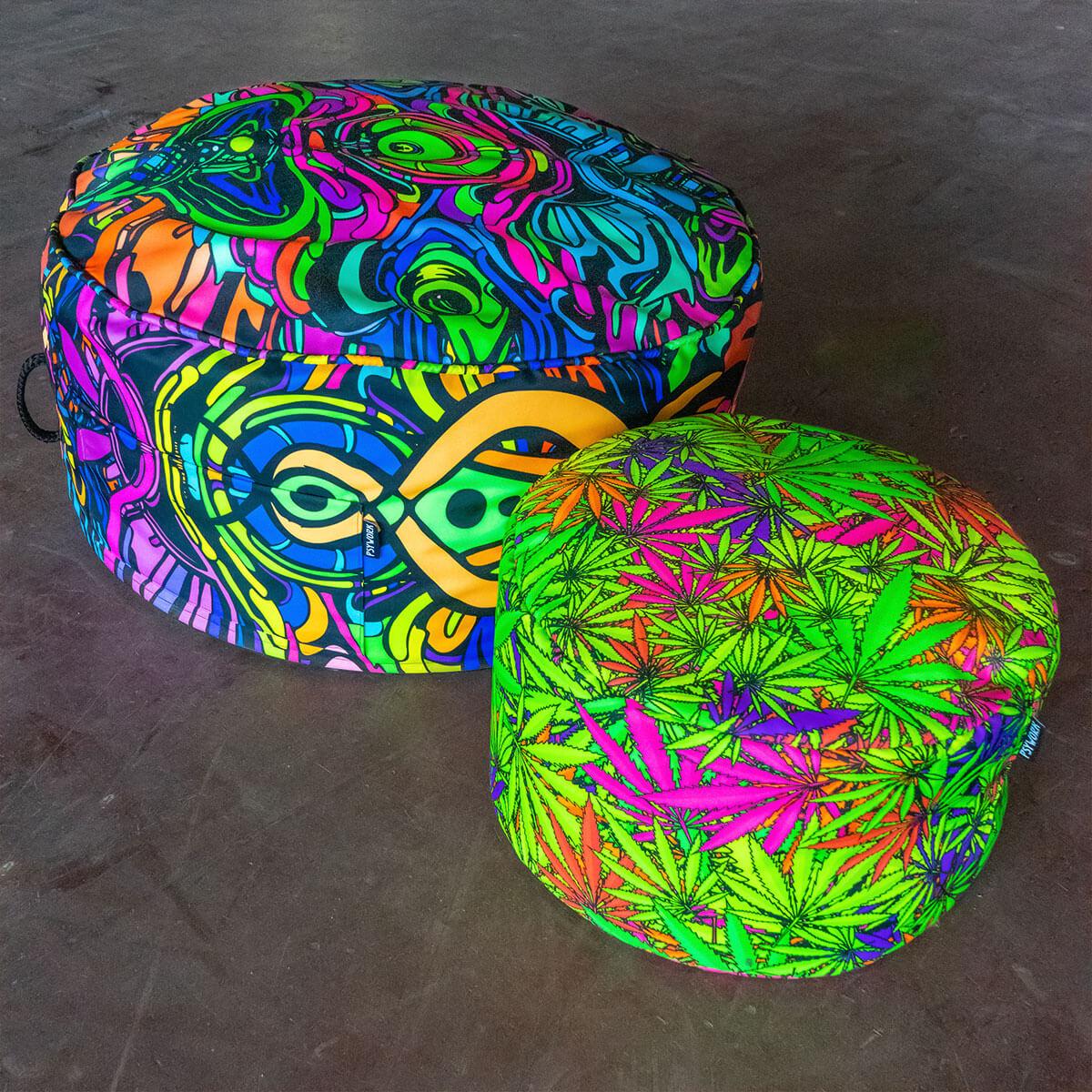 Sitzkissen aus Neon Textildruck